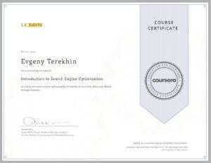 My SEO certificate